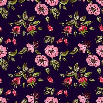 Rose seamless pattern in dark