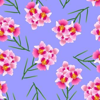 Rose vanda mlle joaquim orchidée sur fond violet.