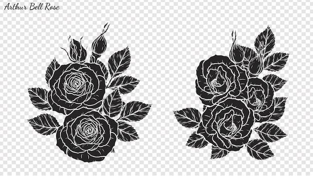 Rose vecteur d'ornement à la main de dessin.