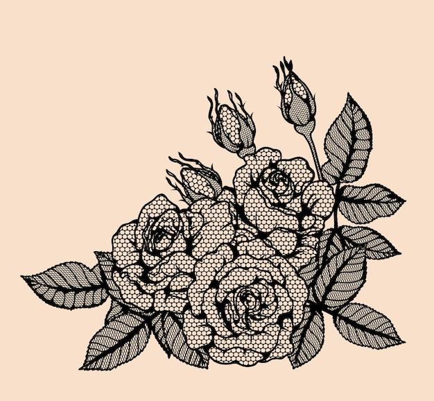 Rose vector dentelle à la main de dessin.