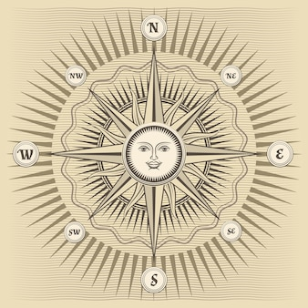 Rose des vents vintage avec le soleil au centre