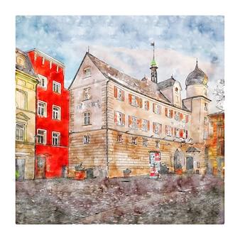 Rosenheim allemagne croquis aquarelle illustration dessinée à la main