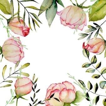 Roses aquarelle, cadre de feuilles et branches vertes sur fond blanc