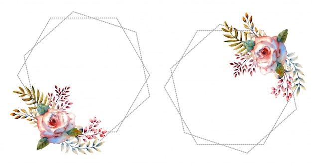 Roses aquarelles roses dans un cadre rond sur un blanc isolé.