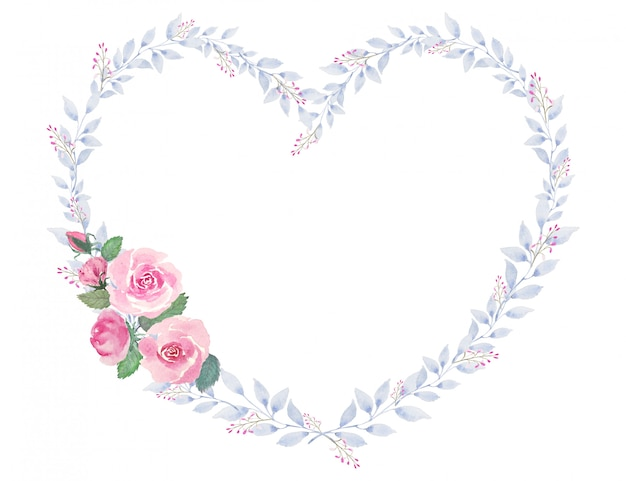 Roses et bouquet de fleurs de coeur dessin aquarelle vintage pour la saint-valentin et autre festival ou activité de célébration de l'amour romantique