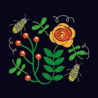 Roses à broder et ornement d'abeille pour le motif floral