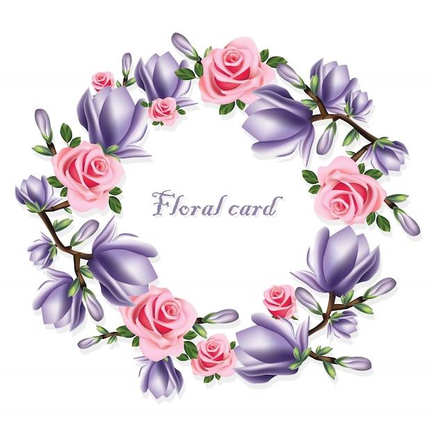 Roses et carte de couronne de fleurs violettes