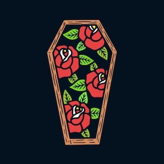 Roses dessinées à la main sur illustration de tatouage old school frame cercueil