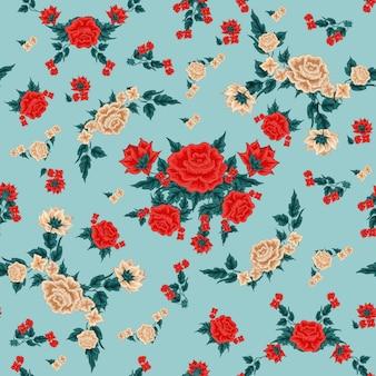 Roses fleurs seamless pattern. style floral vintage.