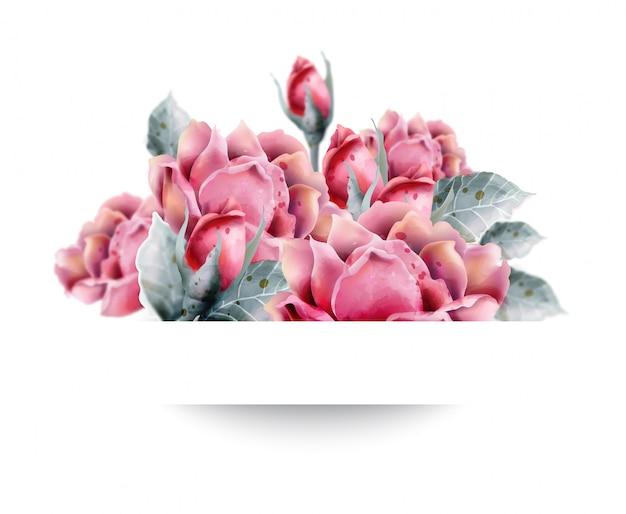 Roses fleurs style aquarelle