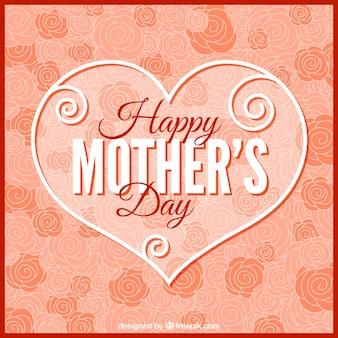 Roses fond avec un coeur de la fête des mères