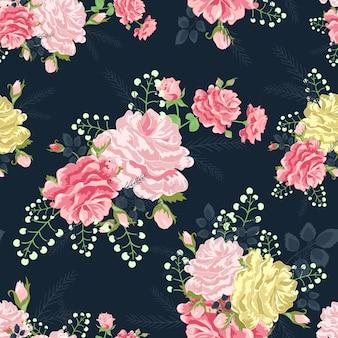Roses sur fond gris foncé