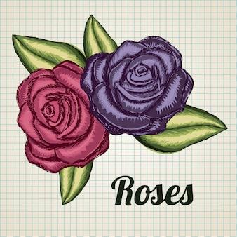 Roses Grunge Vecteur Premium