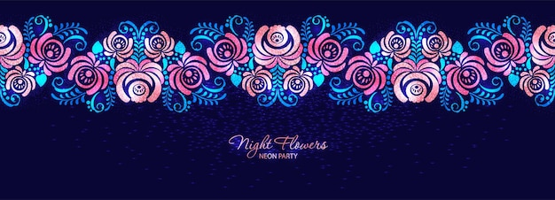 Roses de nuit roses au néon et feuilles sur un fond sombre dans un style d'ornement russe