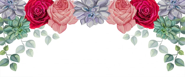 Roses, plantes succulentes et feuilles tropicales vector illustration