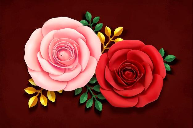 Roses romantiques dans un style art papier sur bourgogne