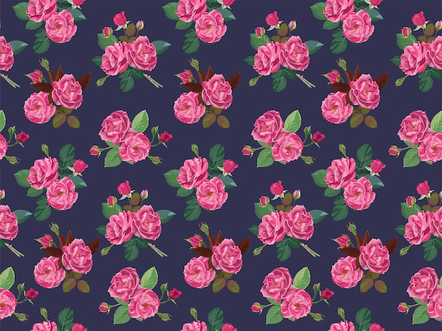 Roses roses ou pivoines en modèle sans couture de fleur