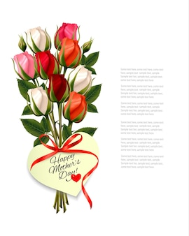 Roses rouges avec une note de bonne fête des mères en forme de cœur et un ruban rouge. vecteur.
