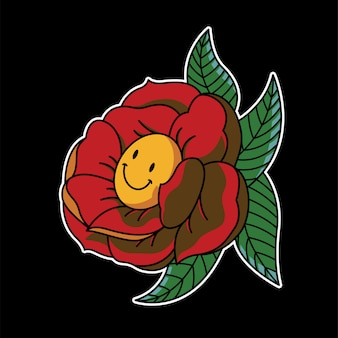 Roses smile emoticon illustration de tatouage vintage