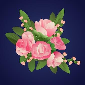 Roses de style papier dégradé coloré 2d
