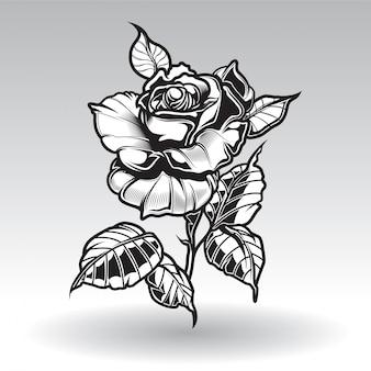Roses de tatouage de vecteur avec des feuilles sur fond blanc