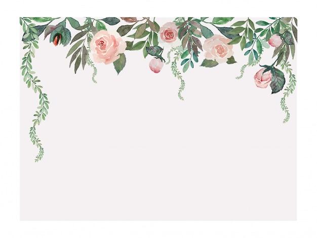 Roses vintage et feuilles vertes sur le dessus du rectangle rose rectangle ouvert cadre peinture aquarelle illustration