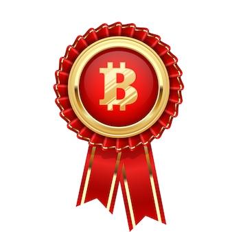 Rosette avec symbole bitcoin - icône de crypto-monnaie