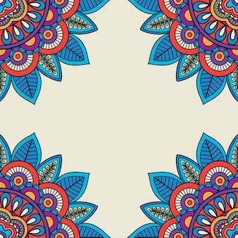 Rosettes florales doodle cadre dessiné à la main