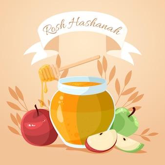 Rosh hashanah avec du miel et de la pomme