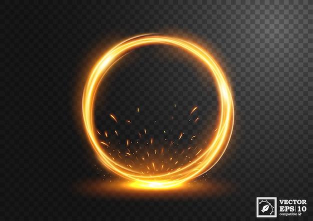 Rotation de lumière dorée avec des étincelles