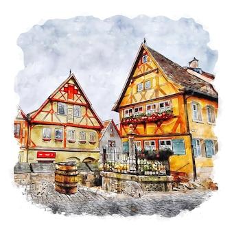 Rothenburg allemagne aquarelle croquis dessinés à la main illustration