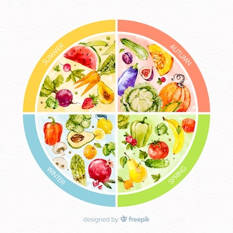 Roue aquarelle colorée de fruits et légumes de saison