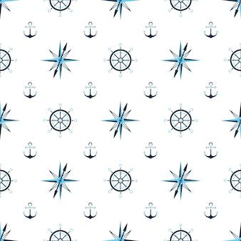 Roue de capitaine, ancre à eau, boussole de matelot. fond nautique, modèle sans couture.