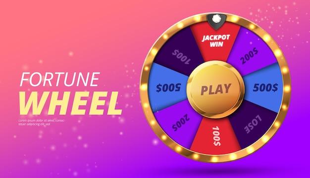 Roue colorée de la chance ou fortune infographie vector illustration fond de casino en ligne