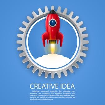 Roue dentée d'art de lancement de fusée spatiale. illustration vectorielle
