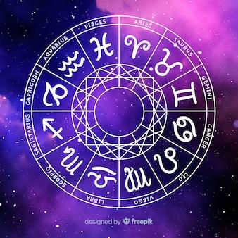 Roue du zodiaque sur fond d'espace