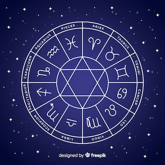 Roue du zodiaque sur un fond d'espace