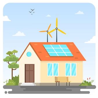 Roue éolienne panneau solaire technologie bio illustration maison fond ciel bleu