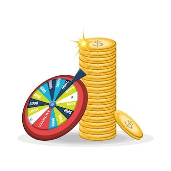 Roue de fortune coloré et pile de l'icône de pièces d'argent