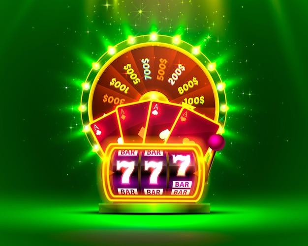 La roue de fortune colorée au néon du casino, la machine à sous au néon, les cartes à jouer remportent le jackpot.