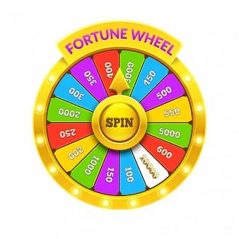 Roue de fortune colorée. illustration de roue réaliste 3d de fortune. fond blanc ob isolé. eps10.
