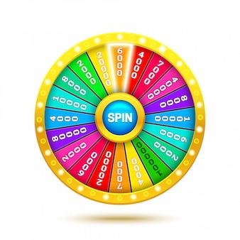 Roue de fortune colorée. illustration de roue réaliste 3d de fortune. fond blanc ob isolé.