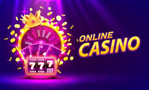 Roue de fortune colorée d'or de casino en ligne, machine à sous au néon, cartes à jouer remporte le jackpot