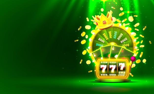 Roue de fortune colorée d'or de casino, machine à sous au néon, cartes à jouer remporte le jackpot