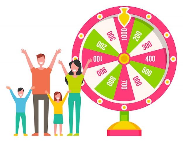 Roue de la fortune, machine à roulette, famille