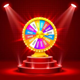 Roue de la fortune sur le podium. isolé sur fond rouge. illustration vectorielle