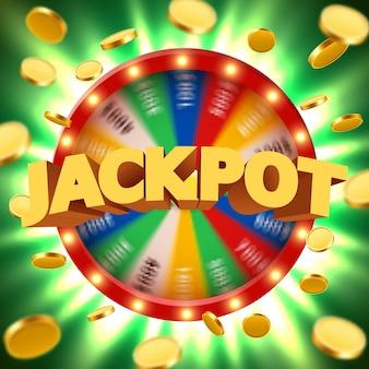 Roue de fortune en rotation 3d réaliste avec des pièces d'or volantes. roulette chanceuse.