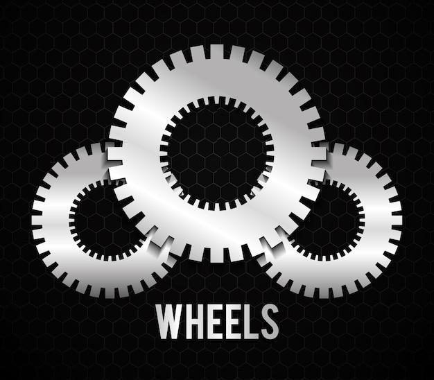 Roue industrielle avec des couleurs de dos et blanches, illustration vectorielle
