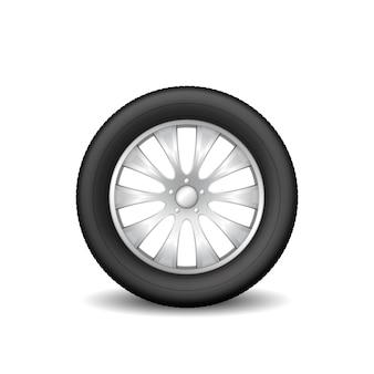 Roue de pneu de voiture isolé sur blanc. protecteur en caoutchouc réaliste et disque métallique pour véhicule d'été ou d'hiver avec ombre. 3d