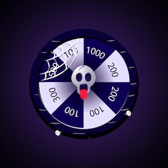 Roue de rotation quotidienne pour les éléments d'actif de l'interface utilisateur du jeu 2d avec le thème halloween